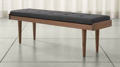 Tate Walnut Slatted Bench with Charcoal Cushion | Crate and Barrel