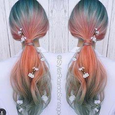 Food Coloring Hair Dye, Creative Hair Color, Cool Hair Color, Sunset Hair, Kawaii Hairstyles, Wild Hair, Dye My Hair, Pastel Hair, Mermaid Hair