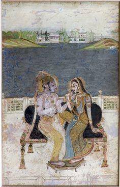 A Nayak and Nayika sitting on throne, Kishangarh, 18th century. Albert Hall Museum, Jaipur