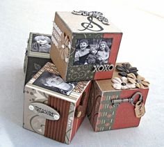 Handmade decorative photo blocks by Carla Schauer Wood Craft Patterns, Wood Block Crafts, Wood Crafts, Paper Crafts, Christmas Wood, Diy Christmas Gifts, Christmas Signs, Box Photo, Picture Cube