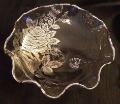 "Vintage Elegant Glass 9"" Serving Bowl w/Ruffled Edge Silver Trim & Rose Overlay"