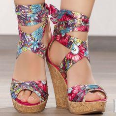 Sandales compensées fuchsia femme elasthomère talons de 12 cm taille 36, en vente sur la boutique en ligne Modatoi. Achetez en