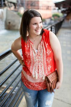 Tomato red summer top, distressed denim