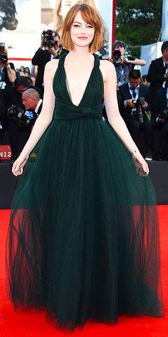 "Emma Stone in a Valentino gown at the ""Birdman"" premiere in Venice"