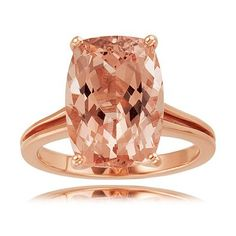Rose Gold Cushion Cut Morganite Diamond Engagement Ring - Here's a cute rosy faceted piece that is unique as well as rare with this lovely Rose Gold Cushion Cut Morganite Diamond Engagement Ring stamped in 14k Rose Gold placed in a four Prong setting featuring a Morganite Cushion cut center stone. The Rose Gold Cushion Cut Morganite Diamond Engagement Ring has a total gem weight of 7.20 carats and the diamonds are 100% natural and not heat-treated. #unusualengagementrings