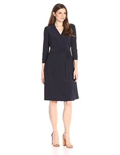 NIC+ZOE Women's Luxe Jersey Wrap Dress, Midnight, Large. Features a v-neckline and surplice bodice. 40 inch length.