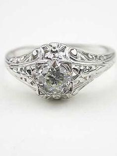 Vintage Wedding Ring Set Ornate 1940s White Gold Illusion Head