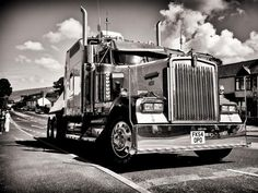 Wedding Photography big Kenworth truck for the Groom to arrive in style