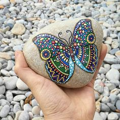 """The butterfly counts not months but moments, and has time enough."" Rabindranath Tagore  Available on Etsy: https://goo.gl/JqLtQj  Hand Painted Stone Butterfly All rights reserved © MonetteStones 2016  Size: 12x8 cm (aprox.) Weight: 0,8 kg  #butterfly #stone #beach #painting #handmade #nature #walking #art #illustration #acrylic #paint #mariposa #sunday #river #artwork #handmade #animal #colorful #painted #rock #pebbles #inspiration #creativity #arte #pintura #acrilica #sharpies"
