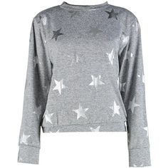 Boohoo Sophie Star Metallic Print Sweater (295 MXN) ❤ liked on Polyvore featuring tops, sweaters, cropped camis, star print sweater, print crop tops, off shoulder sweater and cropped tops