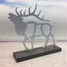 Elk sculpture: aluminum with maple base. Artist: Shirley Lloyd-Davies & Kelly Crosson/Dundee Designs Inc. Dundee, Spiritual Meaning, Artist Biography, Hang Tags, Elk, Places To Go, Moose Art, Sculptures, Spirituality