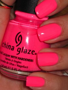 China glaze shocking pink (neon) neon pink nails, pink nail polish, t Neon Pink Nail Polish, Neon Nails, Love Nails, How To Do Nails, My Nails, Summer Nail Polish Colors, Neon Nail Colors, Manicure Colors, Rainbow Nails