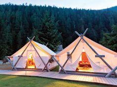 The staff light candles and turn down beds at Clayoquot Wilderness Resort, a camp of 24 pristine-white tents hidden deep in the forest of Tofino, Vancouver Island, while black bears tussle in the woods just outside. Your shelter's Oriental carpet, rough-hewn log bed, and cast-iron wood-burning stove will make you feel like a fancy nineteenth-century pioneer.