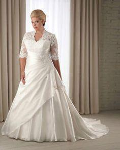 Half Sleeve Wedding Dress Bridal Gown Custom Plus Size 14 16 18 20 22 24 26 28+