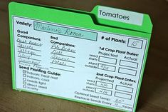 Organizing Seeds and Planting Records