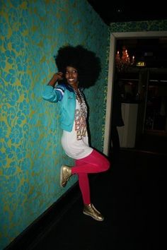 Afro and gold shoes is #winning