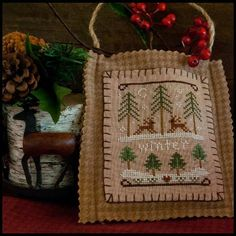cross stitch pattern : Winter Forest Little House Needleworks primitive…