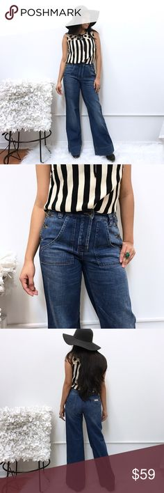 "See by Chloe jeans sz 4 fit like 2 26 high waist See by Chloe jeans. Sz 4 as per tag. Fit like a 2 or a 26. Waist flat across 14.5"" rise 10"" inseam 31"" See by Chloe Jeans Flare & Wide Leg"
