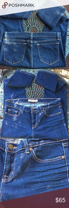 """J Brand Low Rise Pencil Jeans 👖 Excellent condition & never worn. Distressed low rise pencil jeans by J Brand. (All lines/distressed markings, that look like wear, are from manufacturer.) Made in California!  copper button closure  Materials: 98% cotton and 2% spandex Size: 30 Waist=15"""" Rise=8.5"""" Inseam=30.5"""" J Brand Jeans"""