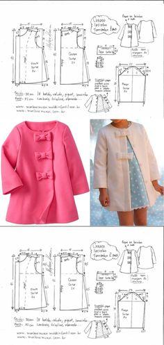 Baby Dress Design, Baby Girl Dress Patterns, Dress Sewing Patterns, Toddler Girl Dresses, Doll Clothes Patterns, Clothing Patterns, Girl Toddler, Skirt Patterns, Coat Patterns
