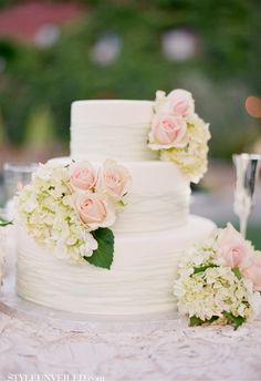 Beautiful White Cake with Pink & Green Flowers