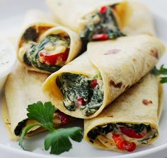 Creamy Spinach and Feta Cheese Tortilla Wraps Recipe | Diethood #wraps #foodie #ideas #snacks #dinner #lunch #fiberrich