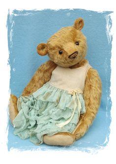 Vintage style collectible teddy bear, hand made by Susanne Tauber, Die aus dem Koffer