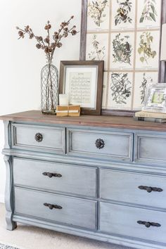 An orange wood thrifted dresser gets a French blue makeover using Fusion Mineral Paint in Champness and Homestead House Wax in Espresso. #dresser #furnitureredo