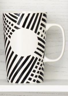 Ceramic coffee mug with a black cross-hatch pattern. #Starbucks #DotCollection