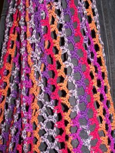 Nothing but Chains and a slip stitches.  Chain 7, Slip Stitch chains together, Chain 7 slip stich those together- across to get the width you want, then turn piece, and chain 7 sl into each chain 7.  It looks like fishnet and streches a little perfect for a quick mindless tv watching project.