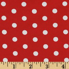 Pimatex Basics Polka Dots Red from @fabricdotcom  From Robert Kaufman Fabrics, this cotton print fabric features Polka dots. Perfect to use for quilt or craft projects, apparel and home décor accents. Colors include red and white.