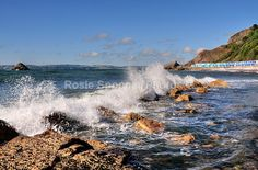 Waves at Meadfoot Beach and new Beach Chalets - Torbay