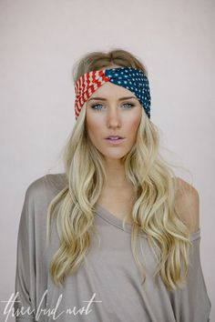 Kinda need this! American Flag Headband, USA Hair Band, Red White and Blue July 4th Fashion Accessory, American Flag Turband in Classic (HB-3690)