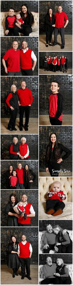 Family Photo Ideas & Poses - Indoor Session - Black Brick Wall - Large Group - Extended Family Photos - Red Shirts - Billings, MT Portrait Photographer