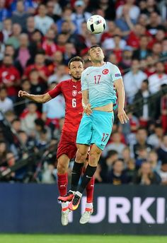 #EURO2016 Burak Yilmaz of Turkey in action against Tomas Sivok of Czech Republic during the UEFA EURO 2016 Group D match between Czech Republic and Turkey at...
