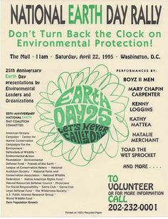 earth day 1991 - Google Search Kenny Loggins, Poster Making, Earth Day, 25th Anniversary, Presentation, Archive, Google Search, Green, Design