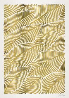 gold sharpie on coffee cup and create a pattern like this or palm frond. Tropical Gold Art Print by Cat Coquillette Motif Tropical, Tropical Pattern, Tropical Leaves, Tropical Prints, Tropical Art, Textures Patterns, Fabric Patterns, Print Patterns, L Wallpaper