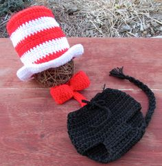 Baby Crochet Cat in the hat top hat Dr. Seuss inspired hat diaper cover bow tie set Photography Prop
