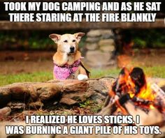 That's why he never wants to go camping...ˇ