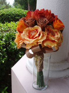 JEWELED MOCHA and ORANGE Fall Bridal Bouquet by LizAnnFlorals, $175.00