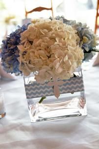 Hydrangea cross centerpiece, chevron first communion