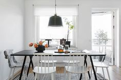 Pictures from a show-home styled by Marie Ramse and Alicia Sjöström for JM agency in Täby, a small town fifteen kilometers north of Stockholm. The apartment is styled in different shades of gray and s Scandinavian Kitchen, Scandinavian Design, Dining Area, Kitchen Dining, Dining Rooms, Swedish Interiors, Home Design Magazines, Dining Room Inspiration, New Furniture