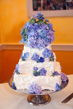 Three-tier wedding cake for the bride and groom! #Weddingcake