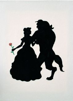 Disney Princess Inspired Silhouette Painting by TheWolfandOtter, $25.00