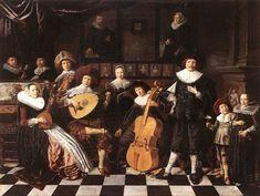 RETRATO  de la familia del pintor tocando música, c. 1636 (Museo Frans Hals, Haarlem).  CITOLA , VIOLÍN , LAÚD , VIOLA  da GAMBA   Jan Miense Molenaer (1610, Haarlem - enterrado el 19 de septiembre de 1668, Haarlem),[1] fue un pintor y grabador holandés cuyo estilo fue precursor del de Jan Steen durante la llamada Edad de oro de la pintura holandesa.[2]  Compartió estudio con su esposa Judith Leyster, con quien se casó en 1636 y pintora de género, retratista y de naturalezas muertas. Los dos…
