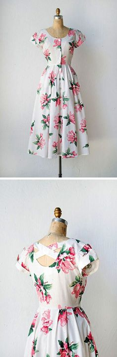vintage 1950s style floral dress | Magnolia Blushing Dress