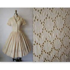 50's Eyelet Dress // Vintage 1950's Embroidered Eyelet Cotton Full Garden Party Mad Men Shirtwaist Dress S. $104.00, via Etsy.