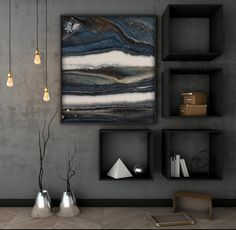 Acrylic Abstract Painting on Birch Panel with a Resin Finish, Blue Grey Black & White, x - Signatures. Black And Grey Bedroom, Black Accent Walls, Dark Grey Walls, Grey Bedroom Decor, Accent Wall Bedroom, Blue Bedroom, Blue Grey, Black Bedrooms, Black White