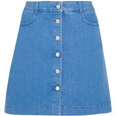 Stella McCartney Stretch-denim mini skirt ($375) ❤ liked on Polyvore featuring skirts and mini skirts