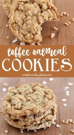 If you love toffee, this Oatmeal Toffee Cookie recipe is for you! They are crisp… If you love toffee, this Oatmeal Toffee Cookie recipe is for you! They are crisp on the outside, chewy on the inside. A perfect oatmeal cookie! Chocolate Marshmallow Cookies, Chocolate Chip Shortbread Cookies, Toffee Cookies, Spice Cookies, Yummy Cookies, Chewy Oatmeal Cookies, Heath Bar Cookies, Cheesecake Cookies, Oatmeal Chocolate Chip Cookies